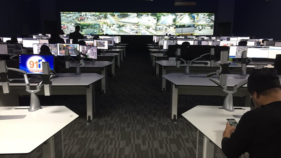 A computer lab observing footage from security cameras in the streets of Honduras capital, San Pedro Sula.
