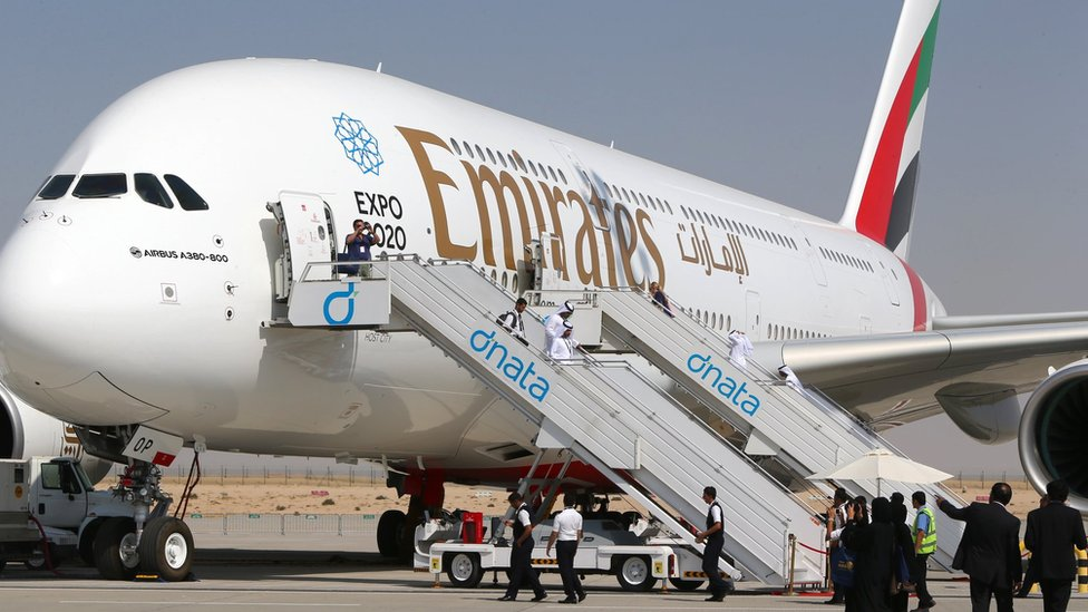 An Emirates airline Airbus A380 displayed at the Dubai Airshow on November 9, 2015
