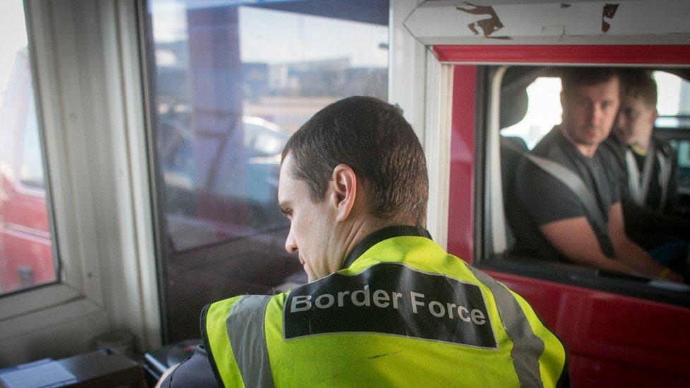 Border Force staff checking of motorists