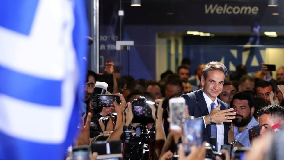 New Democracy leader Kyriakos Mitsotakis speaks at the party headquarters in Athens after Sunday's elections. Photo: 7 July 2019