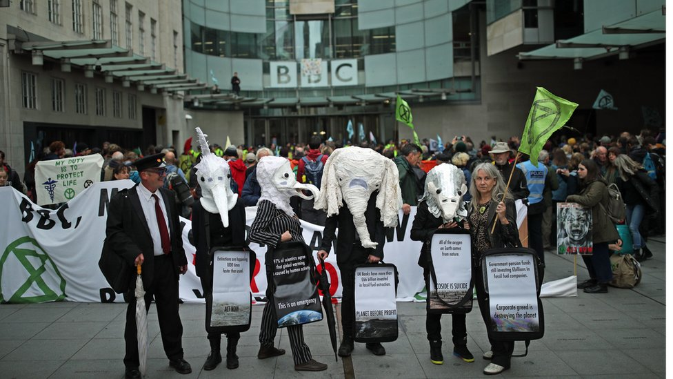 Protesters outside the entrance to the BBC in London during an Extinction Rebellion protest.