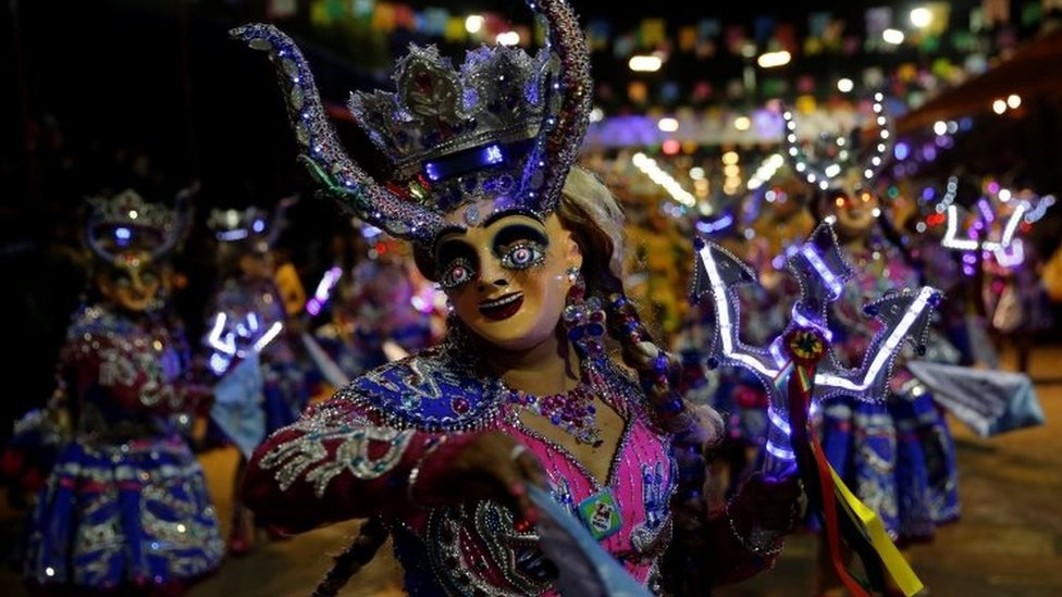 Members of the Diablada Urus group perform during the Carnival parade in Oruro, Bolivia February 10, 2018.