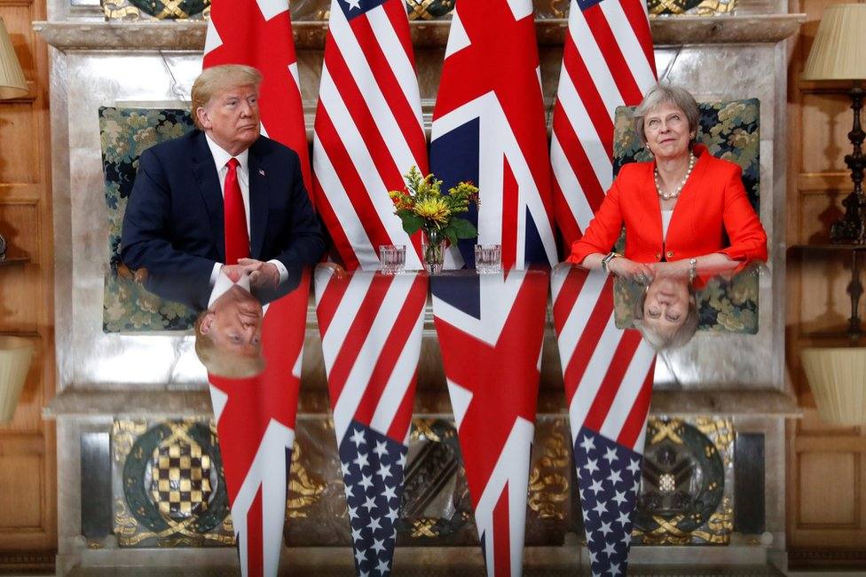 President Donald Trump and Prime Minister Theresa meet at Chequers in Buckinghamshire