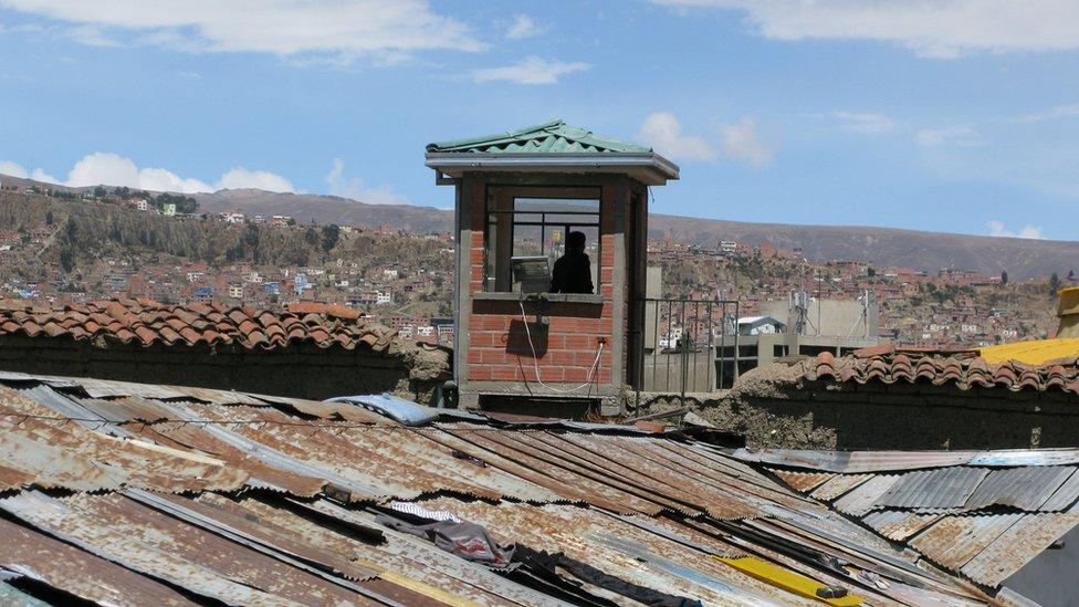A watchtower at San Pedro Prison, La Paz, Bolivia