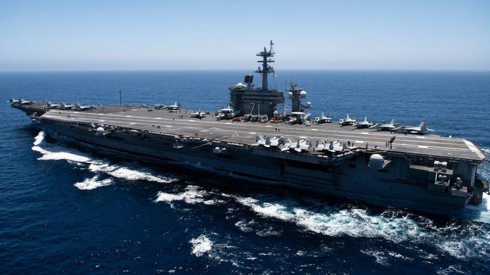 美國海軍航母羅斯福號在太平洋海域巡航