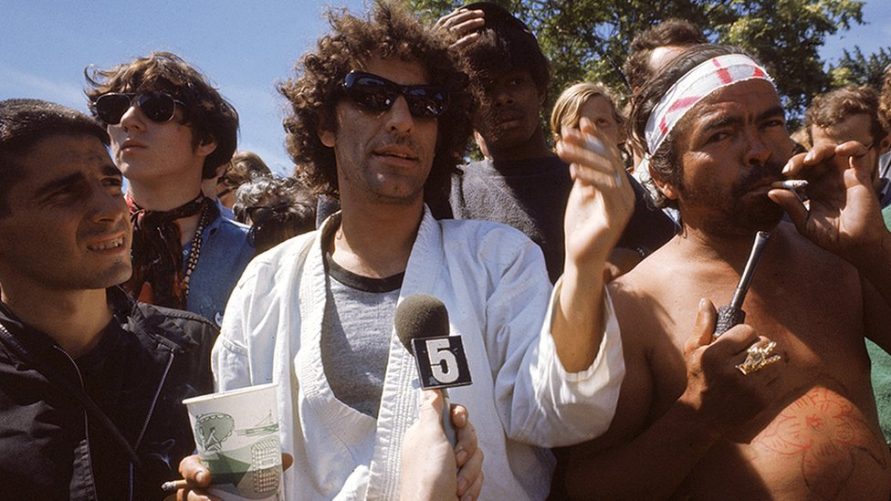 The real political activist Abbie Hoffman with demonstrators in Grant Park, Chicago, protesting outside the Democratic National Convention in August 1968