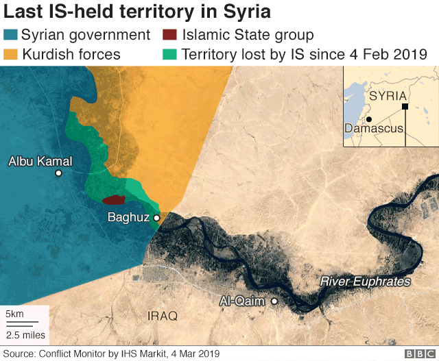 Map showing last IS-held territory in Syria (4 March 2019)
