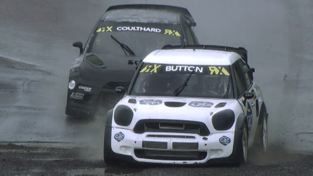 Jenson Button takes on David Coulthard at Rallycross