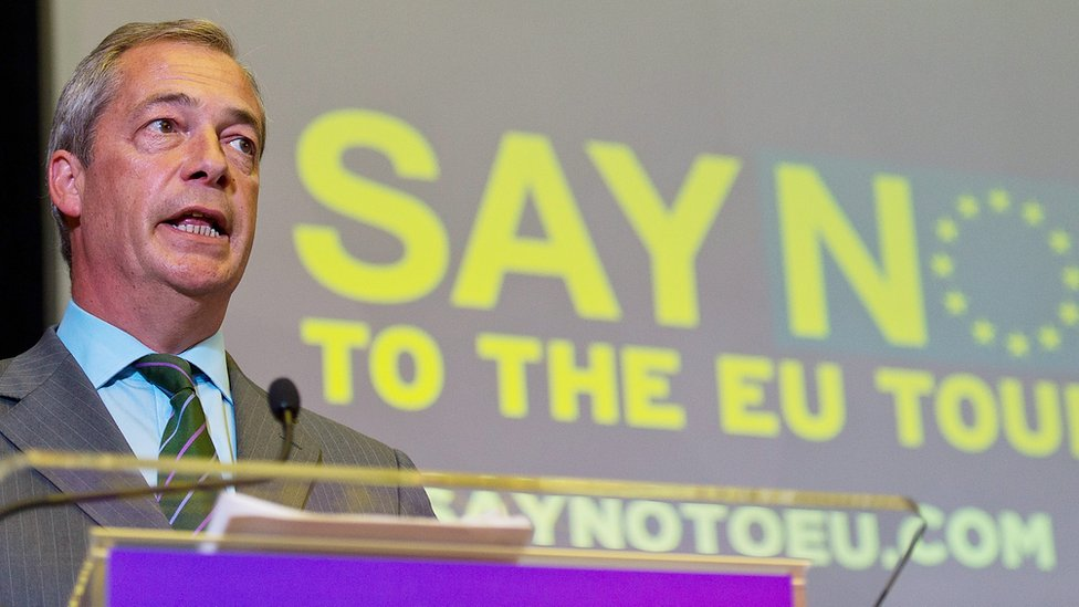 Nigel Farage speaks during the UKIP referendum campaign launch at the Emmanuel Centre on 4 September 2015 in London, England.