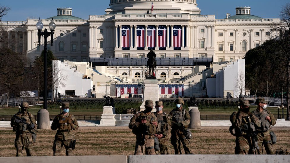 National Guard troops outside Congress in the run-up to Joe Biden's inauguration on 20 January, 2021
