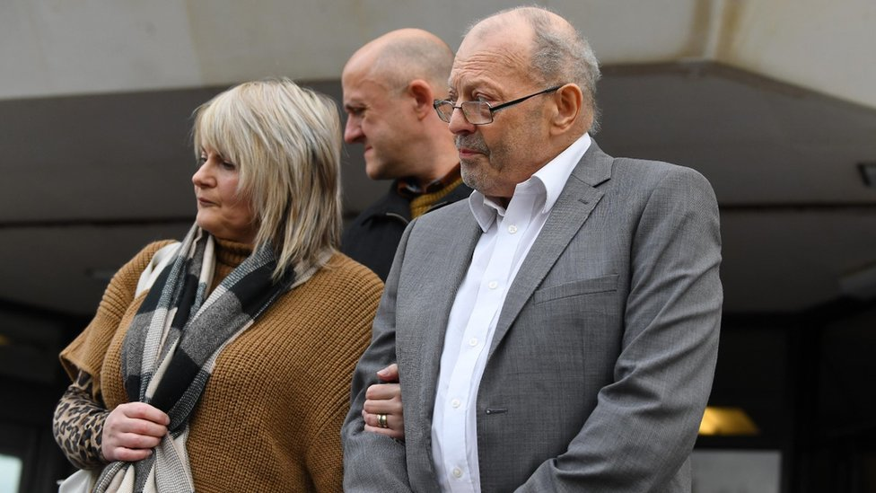 Geoffrey Bran with his daughter Rhiannon leaving court