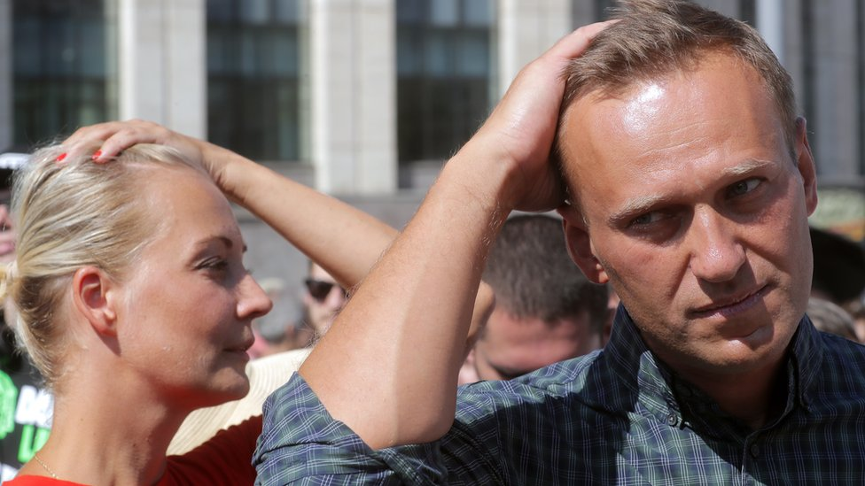 File pic from July 2018: Russian liberal opposition leader and a head of an anti-corruption foundation, Alexei Navalny and his wife Yulia in Moscow