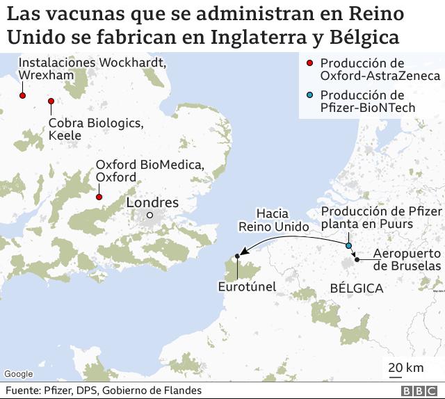 Mapa de fabricantes de la vacuna