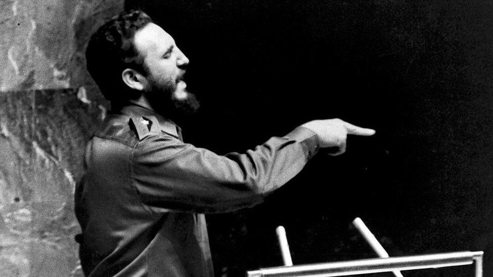Fidel Castro ofrece un discurso en la ONU