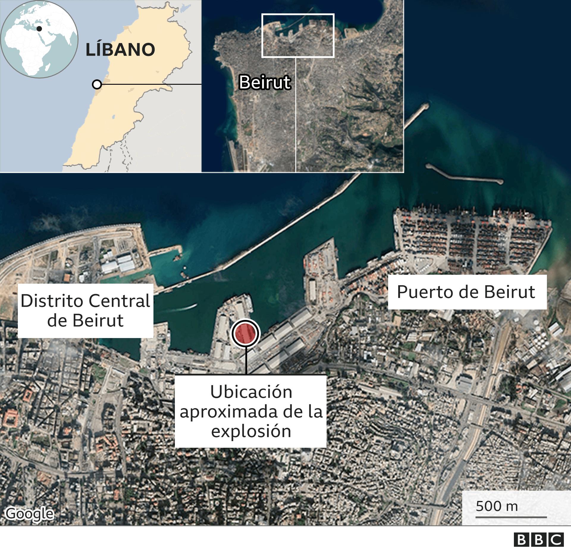 Mapa de la zona del puerto de Beirut.