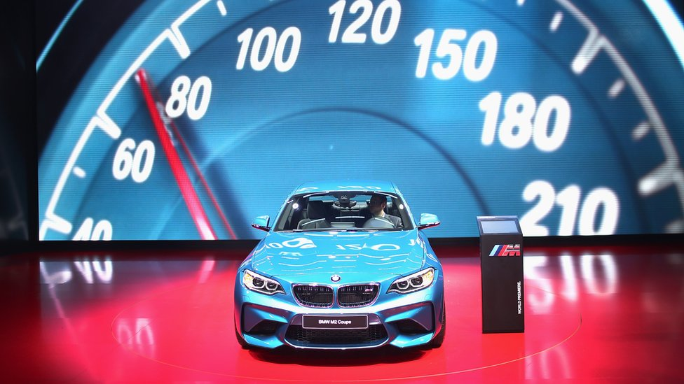 BMW shows off the new M2 Coupe at the North American International Auto Show in Detroit, Michigan