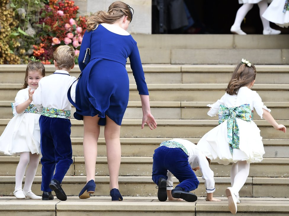 Bridesmaid Princess Charlotte of Cambridge arrives with bridesmaids and pageboys