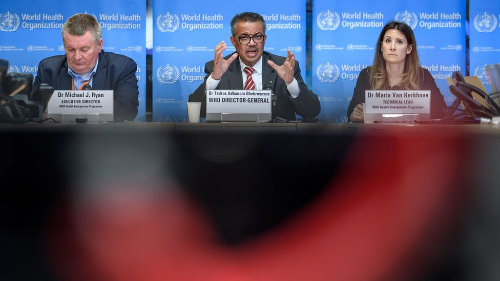 World Health Organization (WHO) Health Emergencies Programme Director Michael Ryan, WHO Director-General Tedros Adhanom Ghebreyesus and WHO Technical Lead Maria Van Kerkhove attend a daily press briefing on COVID-19, the disease caused by the novel coronavirus, at the WHO heardquaters in Geneva on March 11, 2020