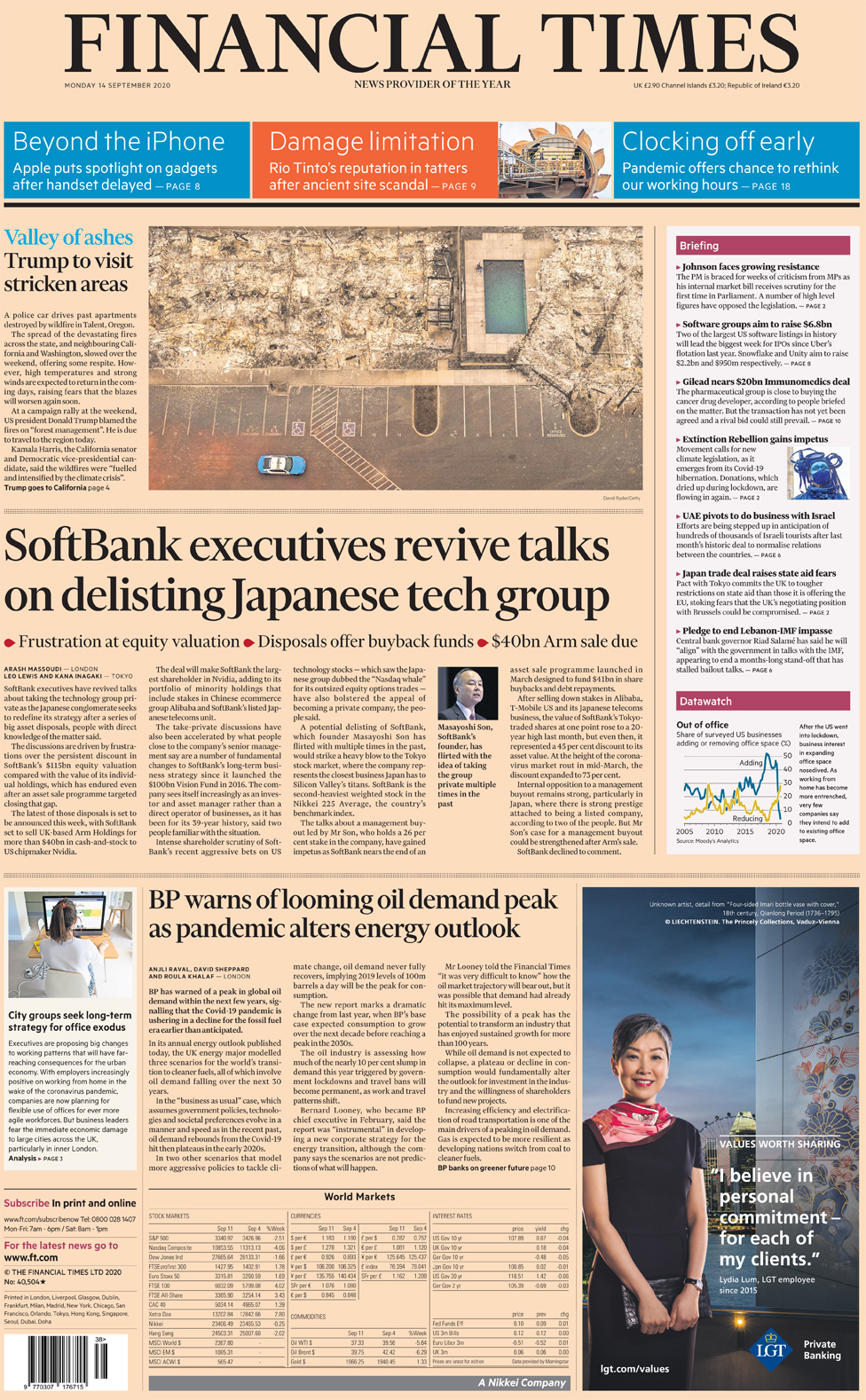 Financial Times front page 14 September