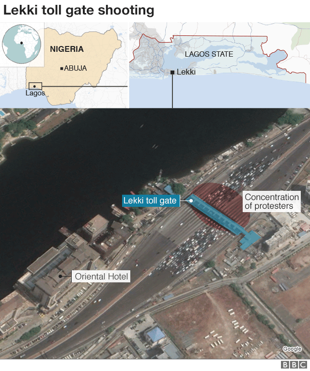 Graphic showing the location of the shooting in Lagos, Nigeria