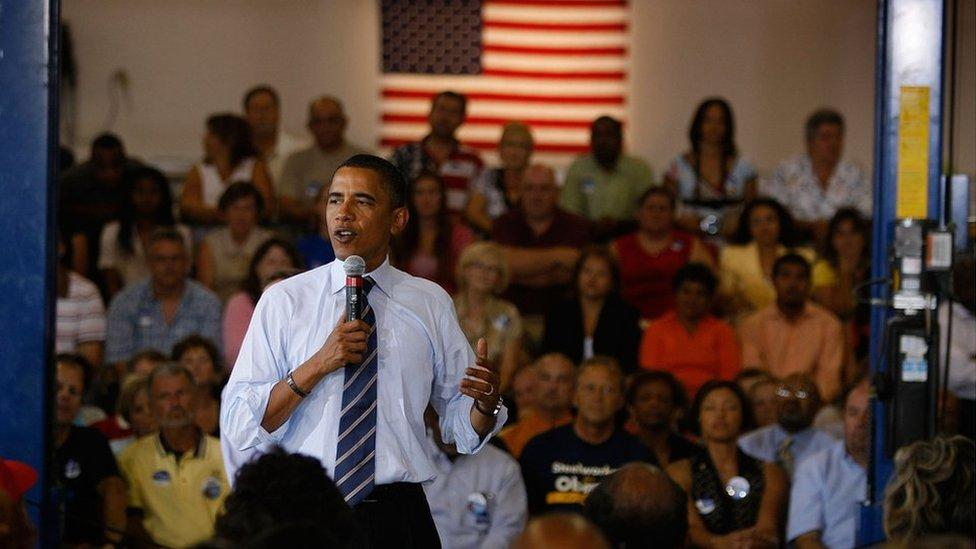 Obama campaigns in Martinsville in 2008