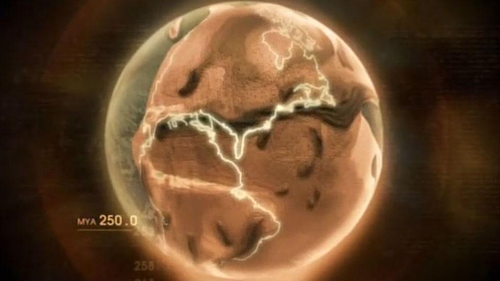 Pangea con la ubicación de América marcada