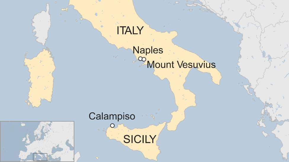 A BBC map showing the locations of Calampiso, Naples, and Mount Vesuvius