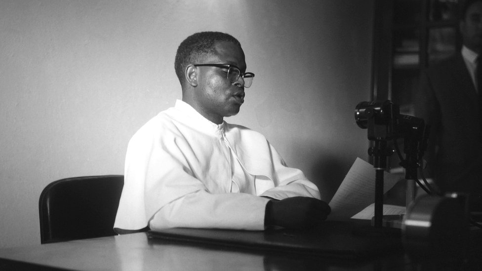 President of Congo, Abbot Fulbert Youlou, makes a radio address during the night of 13-14 August 1963 during violent riots and strikes calling for his resignation.