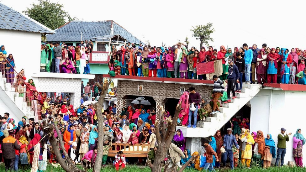 Villagers gather in large numbers as body of slain Central Reserve Police Force (CRPF) soldier Tilak Raj arrives at his home in village Dhewa Jandroh, some 90km from Dharamsala