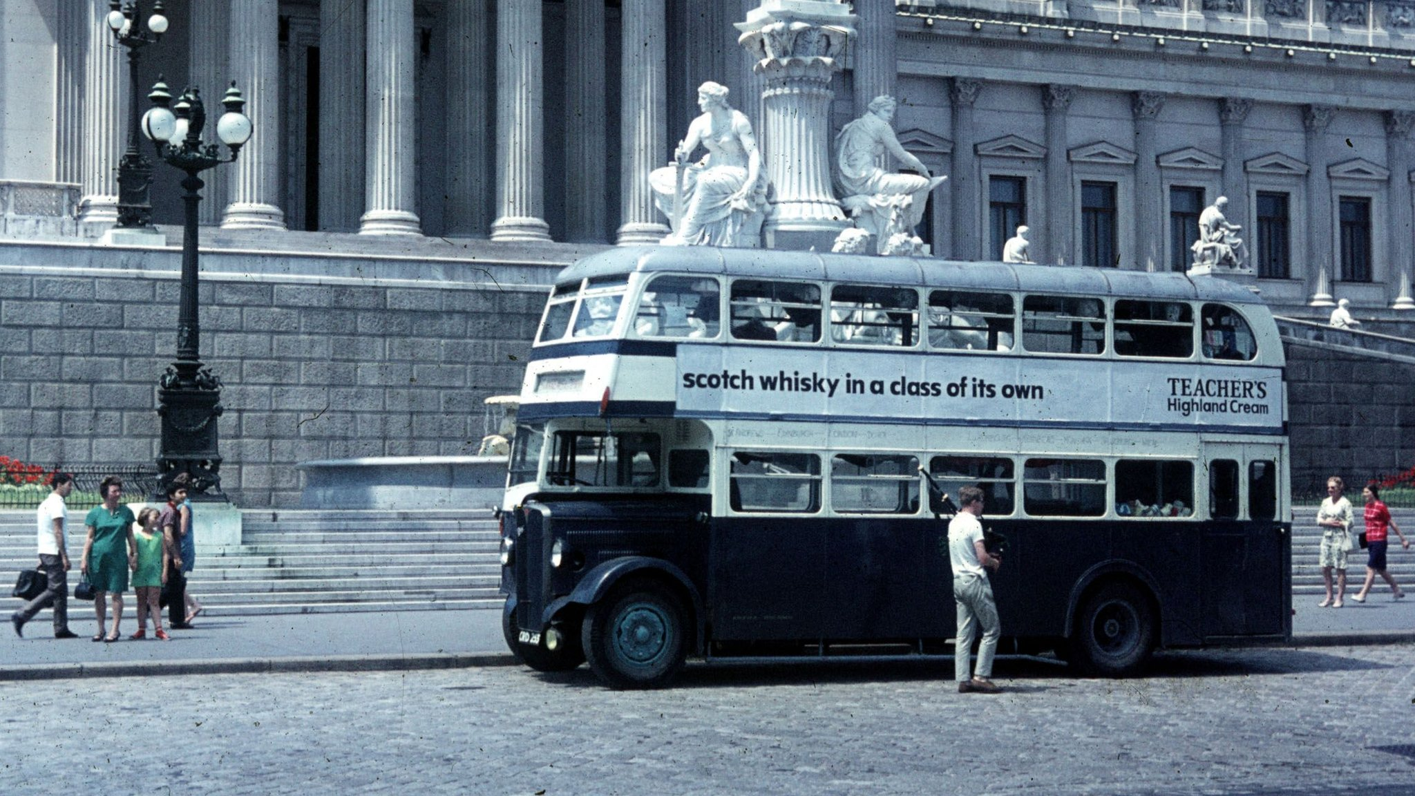 The bus in Vienna by the parliament building on the Dr Karl Renner Ring