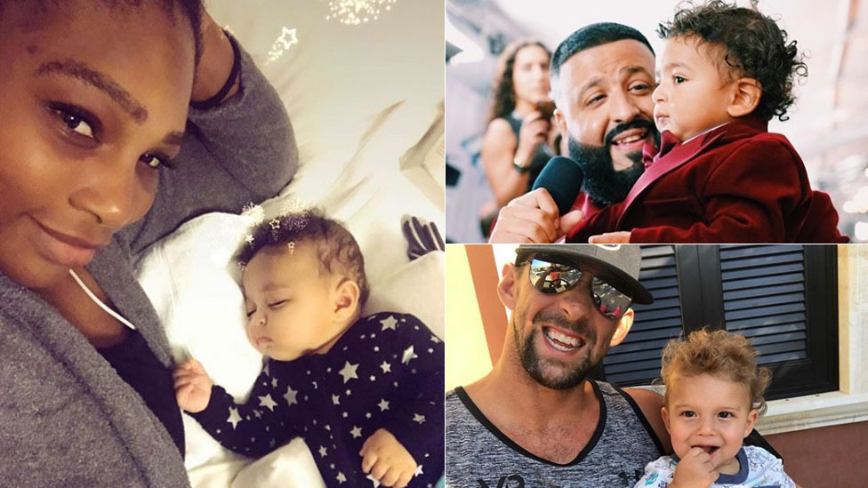 Clockwise from left: Serena Williams with Alexis, DJ Khaled with Asahd and Michael Phelps with Boomer
