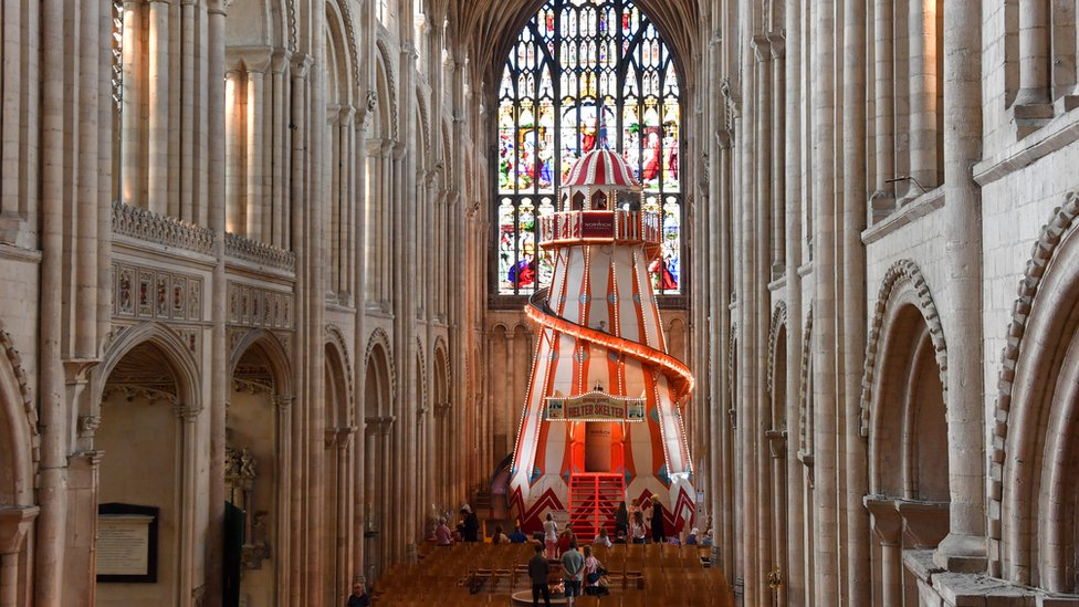 The helter-skelter in Norwich Cathedral