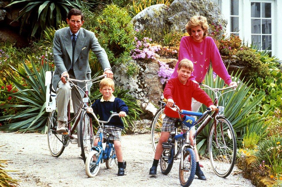 Princ iprinceza od Velsa sa sinovima Vilijamom i Harijem