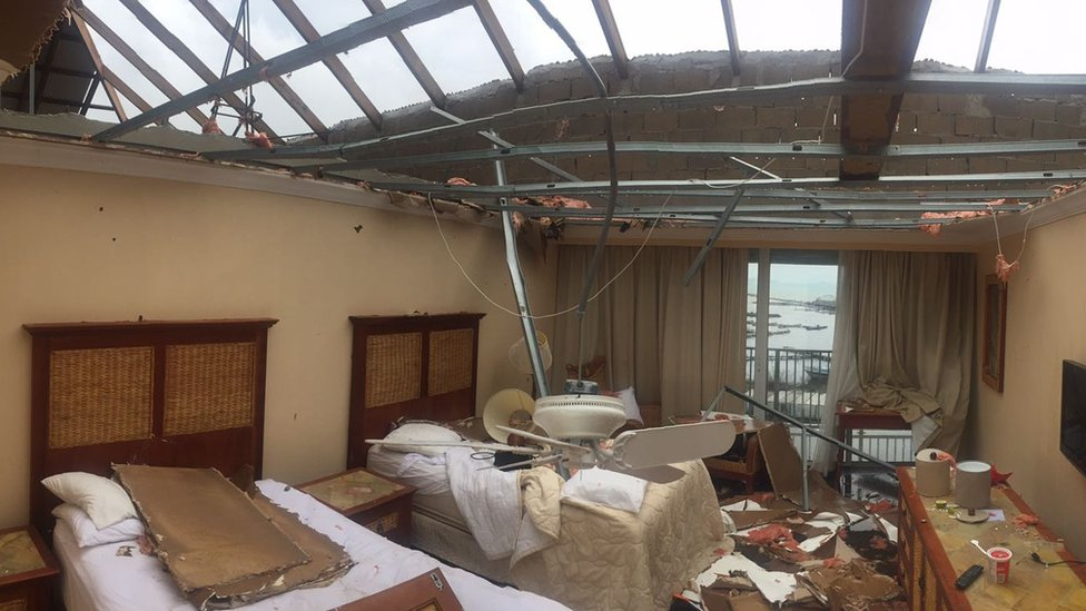 Hotel room with its roof ripped off following Hurricane Irma