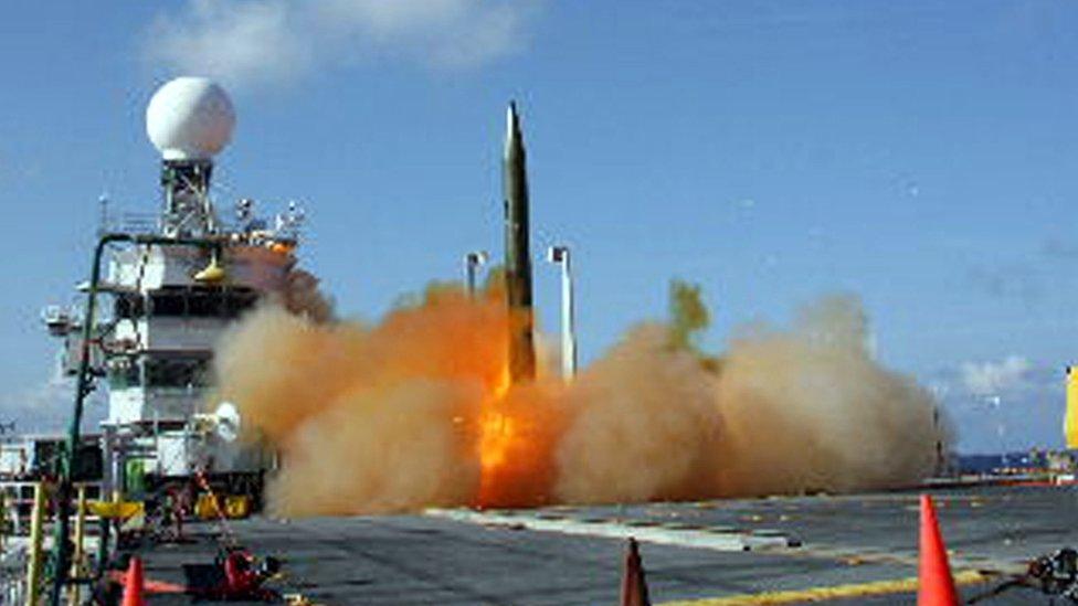 Aegis missile test aboard US warship in Pacific Ocean - 5 Jun 08
