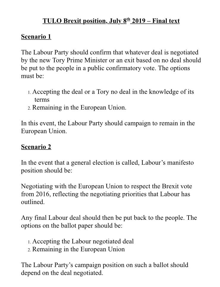 Details of agreement reached by five of the largest unions affiliated to Labour