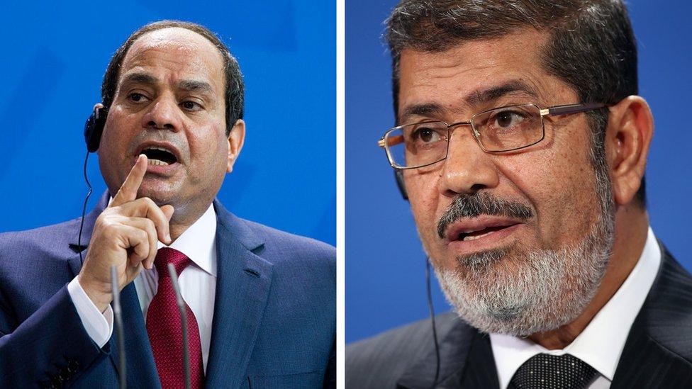 رئيس الجمهورية الحالي عبد الفتاح السيسي والرئيس السابق محمد مرسي