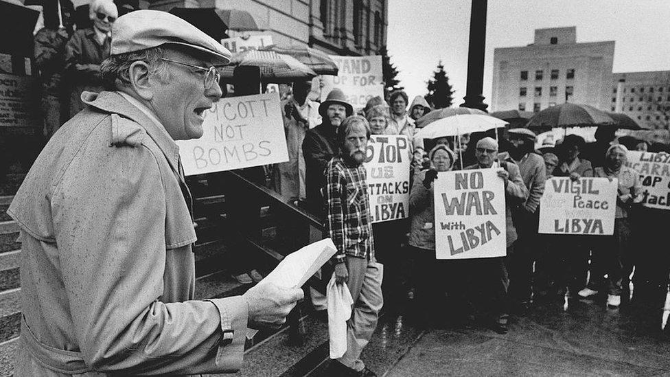 شهدت بعض مدن الولايات المتحدة احتجاجات على الهجمات العسكرية الامريكية على ليبيا في منتصف شهر مارس/آذار عام 1986.