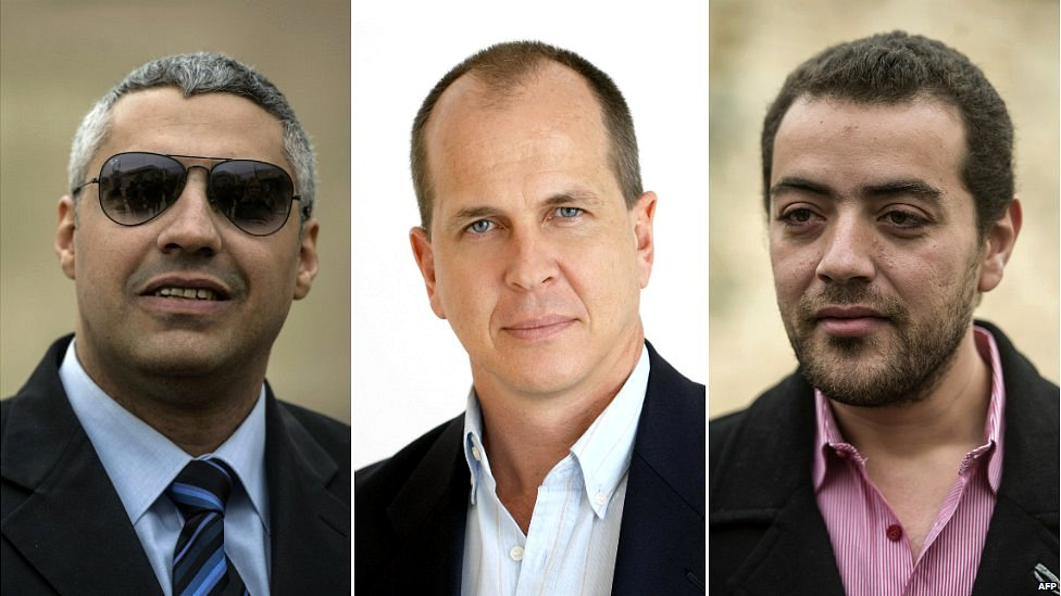 Canadian-Egyptian Mohamed Fahmy (left), Australian Peter Greste and Egyptian Baher Mohamed (right)
