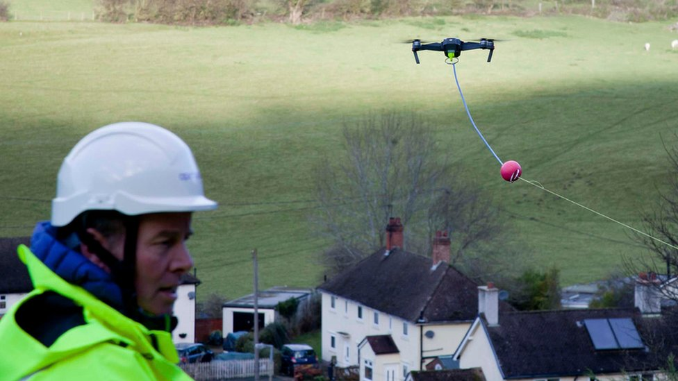 Drone cable-laying