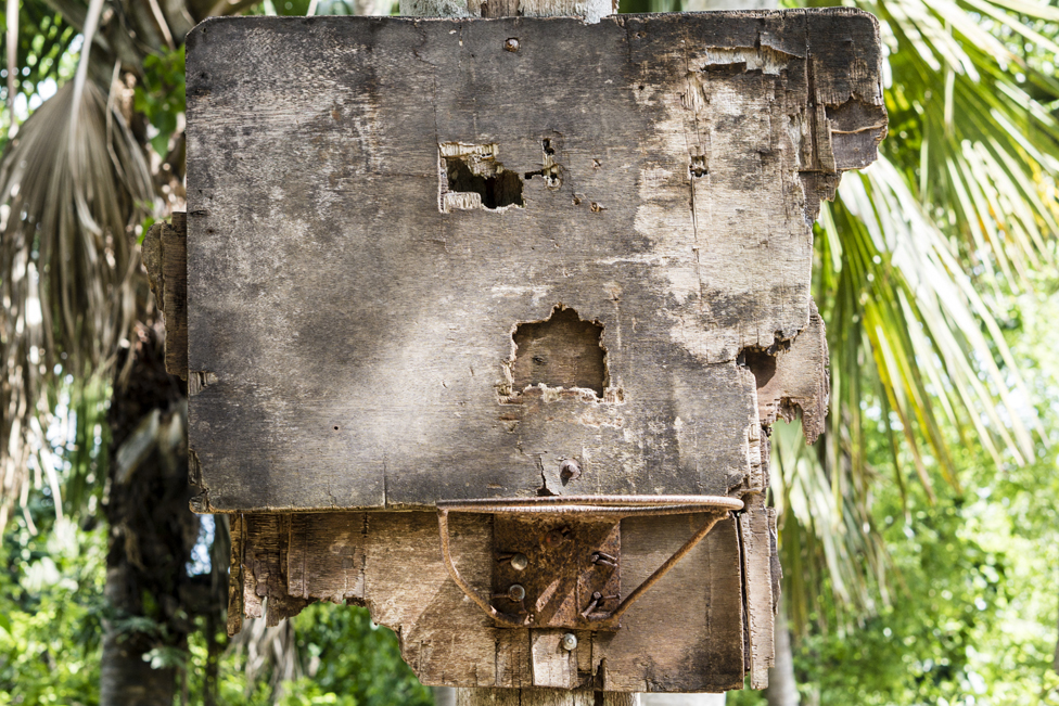 A damaged basketball hoop and backboard in the Visayan Region of the Philippines