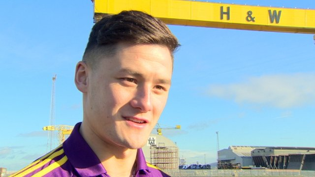Wexford hurler Lee Chin underneath the Harland & Wolff cranes in Belfast as this year's Hurling Leagues was launched on Wednesday