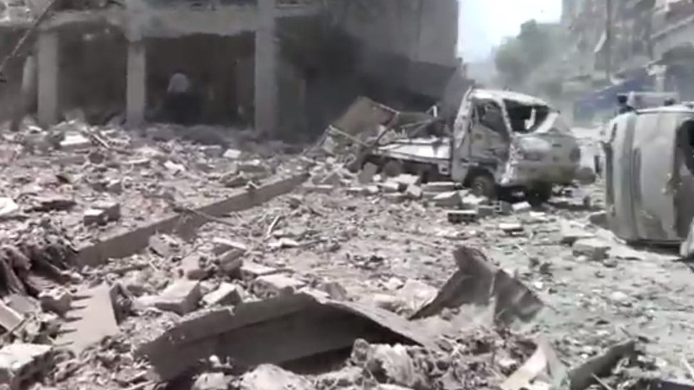 Footage uploaded by activists of the aftermath of the strikes