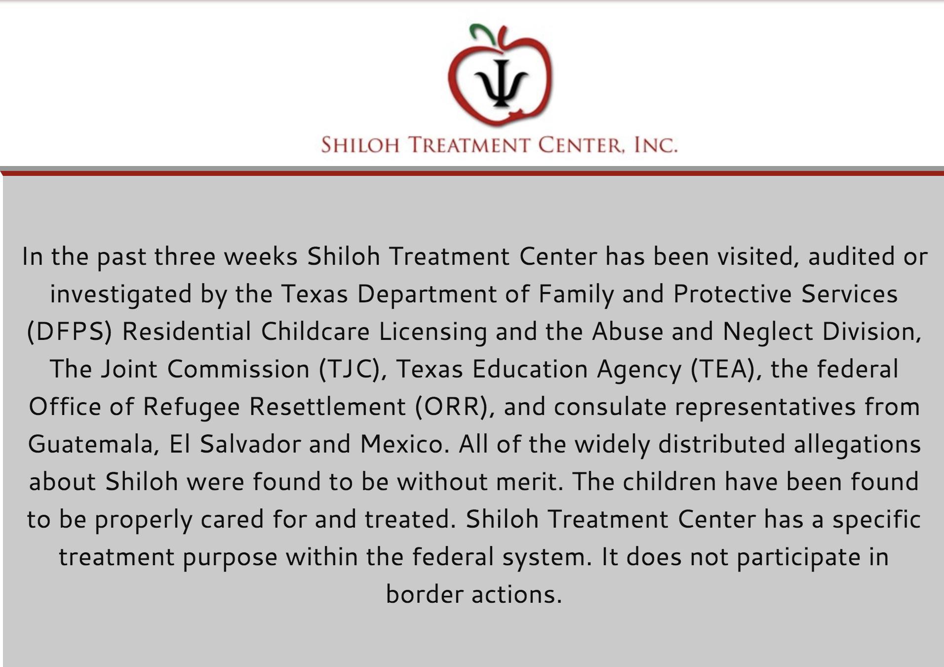 El centro Shiloh publicó este comunicado en su página web asegurando que los niños ¨son tratados y atendidos adecuadamente¨.