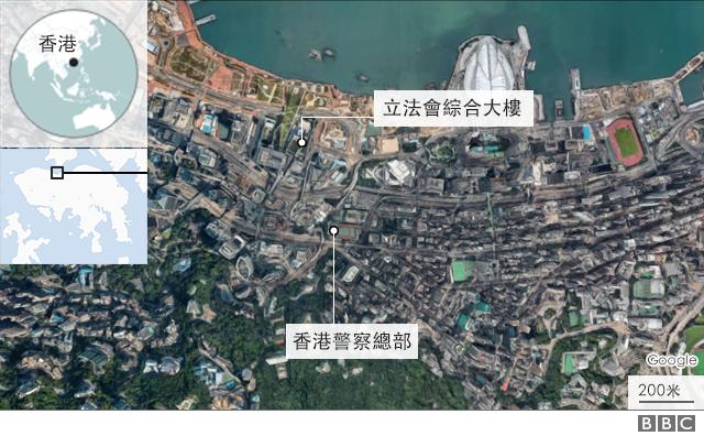 地圖:香港示威地點