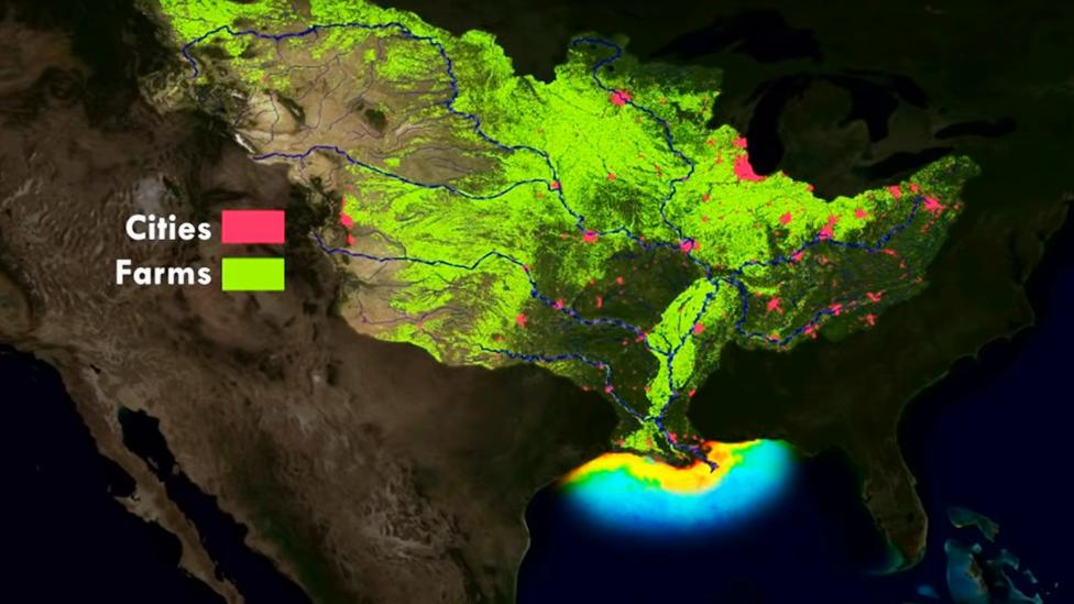 Ilustración que muestra las áreas urbanas y zonas agrícolas que producen las sustancias que descargan los ríos en el Golfo de México