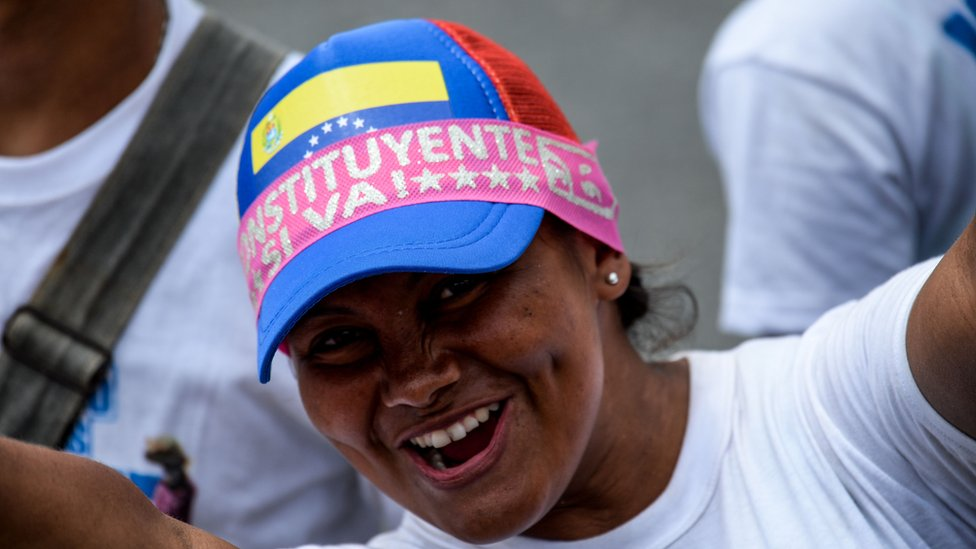 A supporter of Venezuelan President Nicolas Maduro cheers during the closing of the campaign to elect the members of a Constituent Assembly that would rewrite the constitution, in Caracas on July 27, 2017