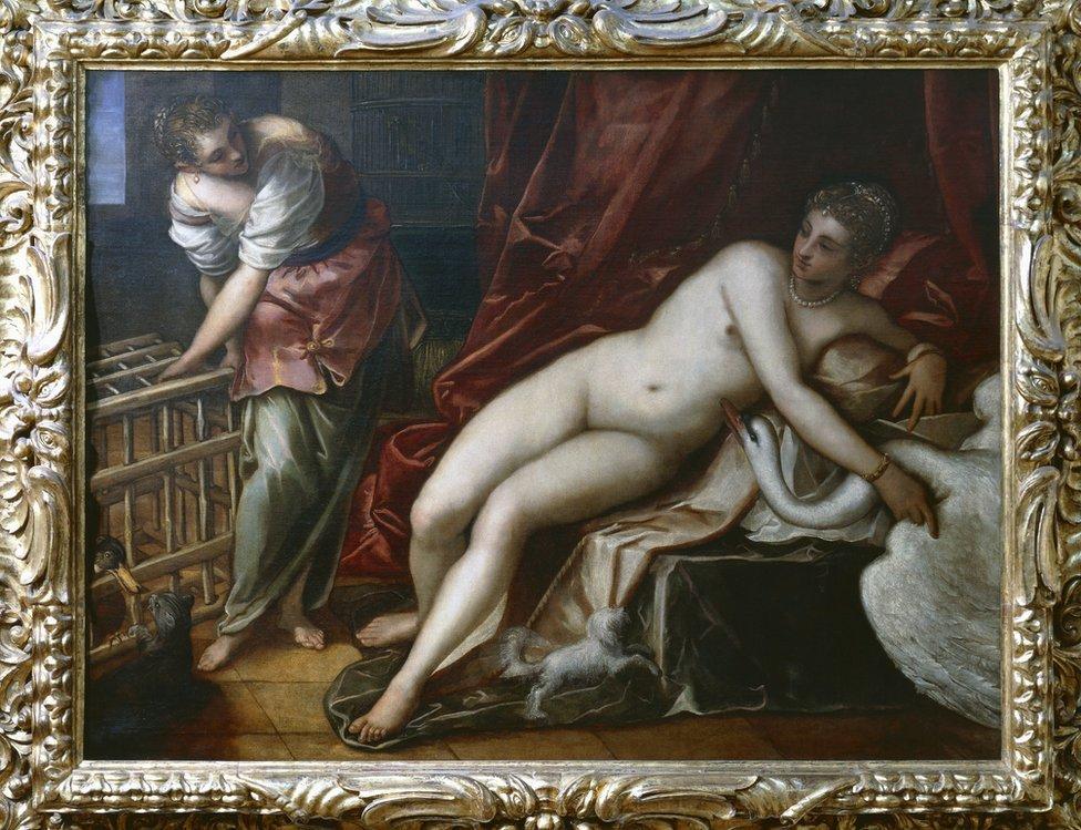 El maestro del Renacimiento Tintoretto también dio vida en su obra a la historia de Leda y el Cisne.