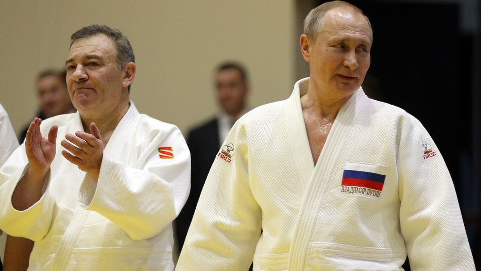 Arkady Rotenberg and Vladimir Putin wearing judo kit in Sochi in February 2019
