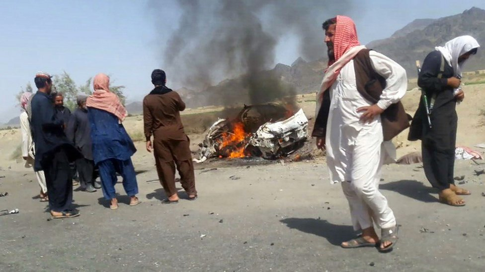 The purported site of the drone strike in the Ahmad Wal area of Balochistan in Pakistan, 21 May